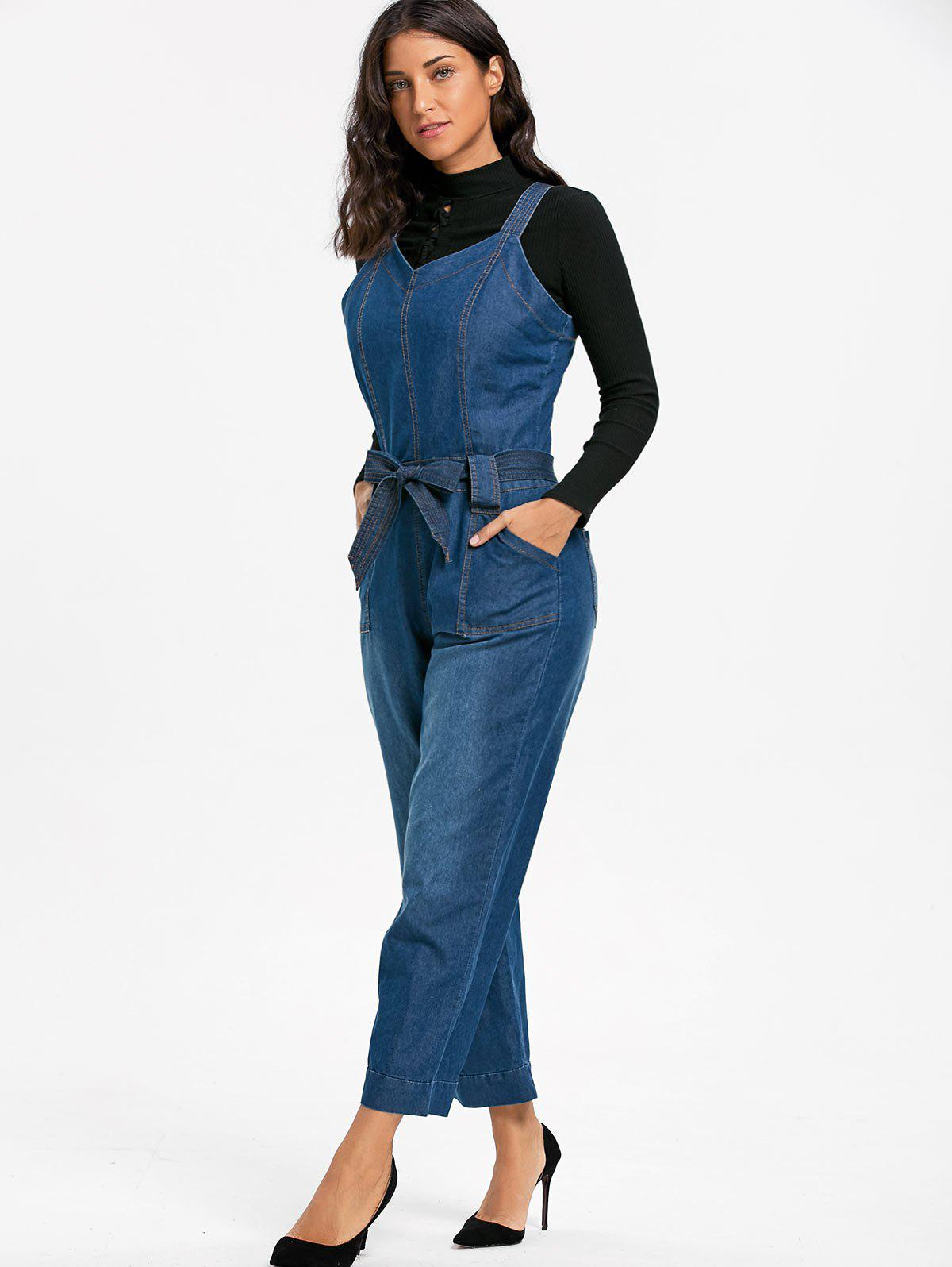 Sleeveless Denim Wide Leg Jumpsuit - BLUE S