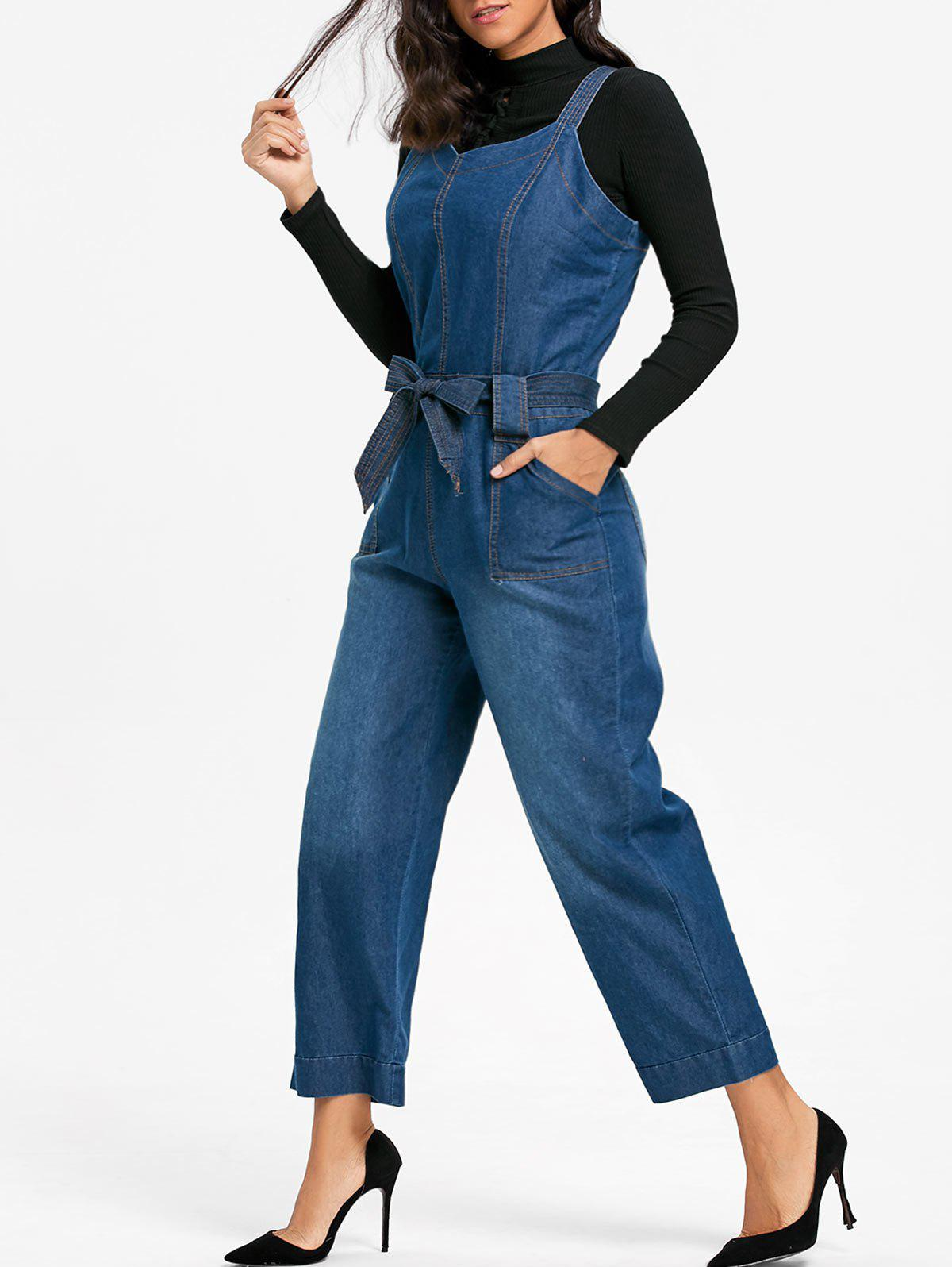 Sleeveless Denim Wide Leg Jumpsuit - BLUE 2XL