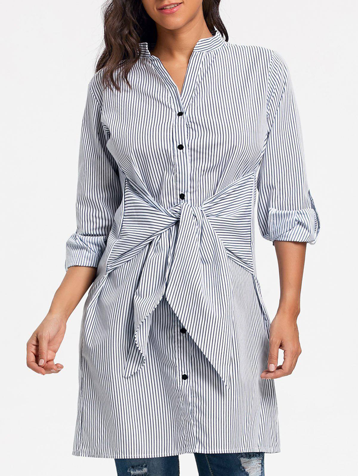 V Neck Striped Tie Up Shirt Dress - STRIPE M