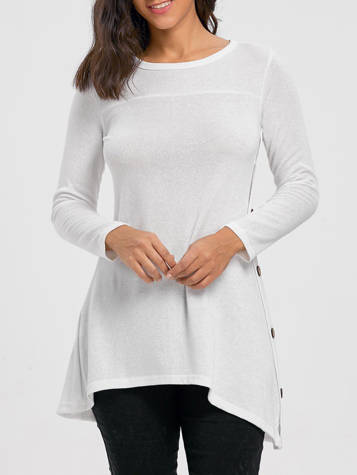 High Low Buttoned Tunic Sweater - WHITE XL
