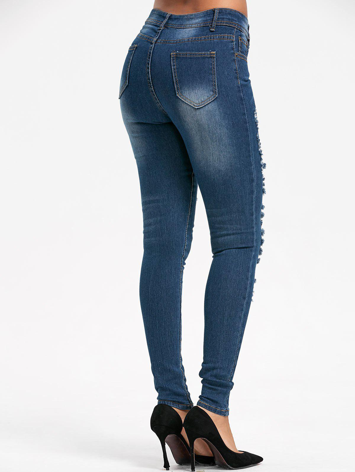 Destroyed Skinny Denim Jeans - BLUE XL