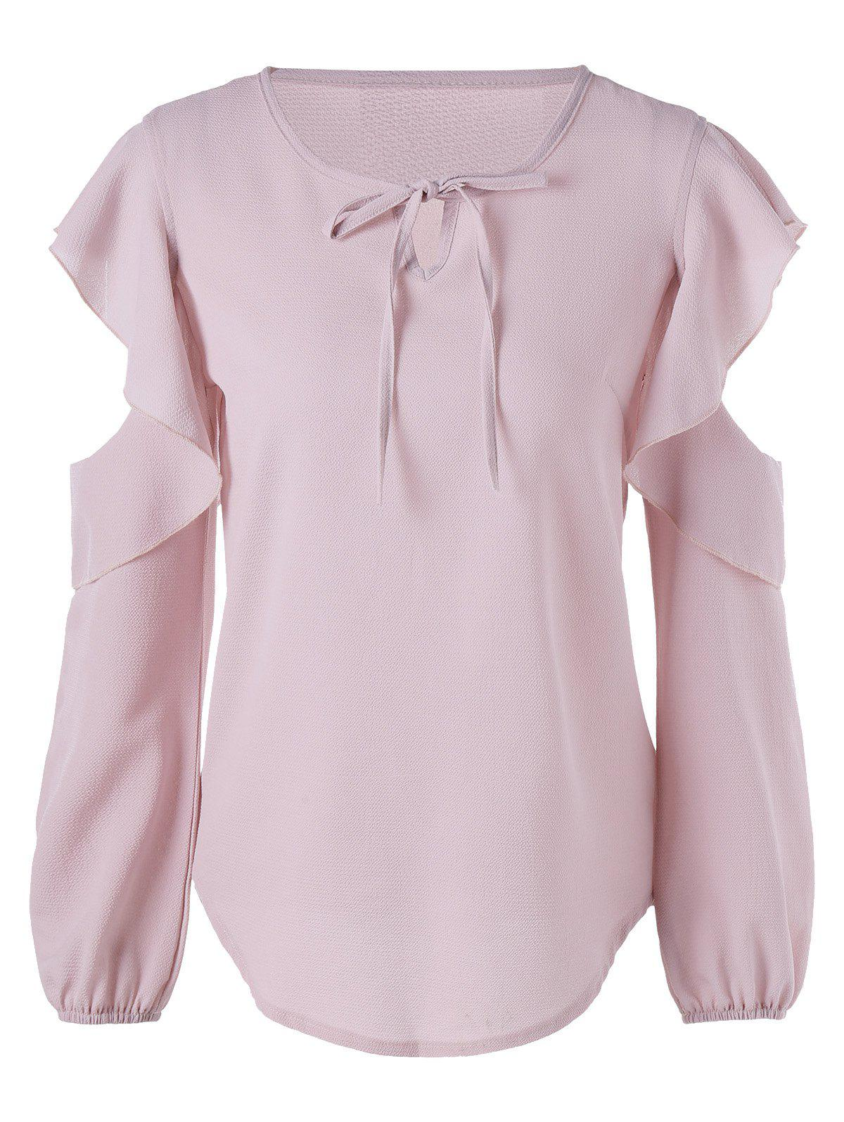 Cold Shoulder Flounced Chiffon Blouse - PINK XL