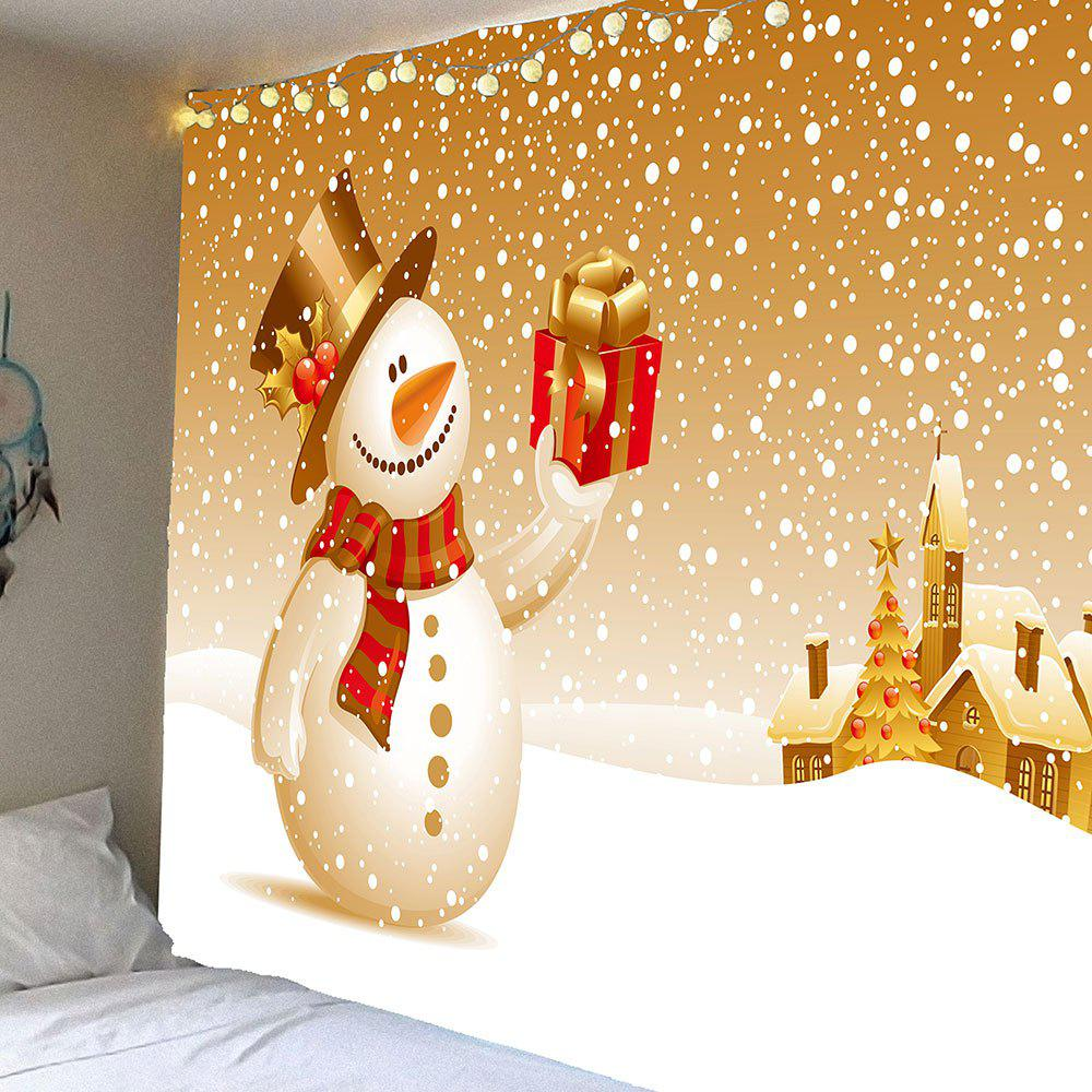 Wall Decor Christmas Snowman With Gift Patterned Tapestry christmas tree snowman printed wall tapestry