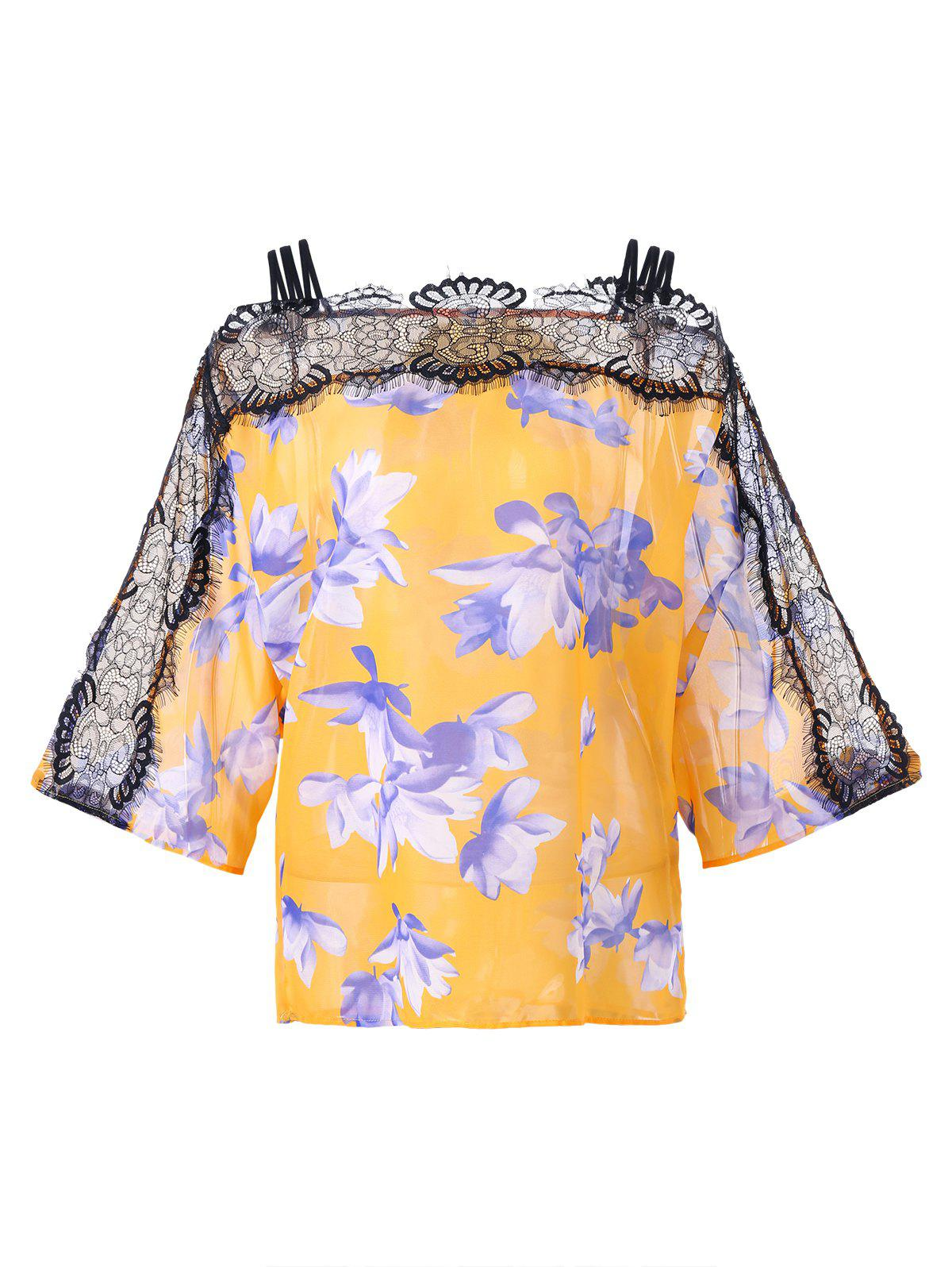 Lace Trim Floral Cold Shoulder Blouse - YOLK YELLOW M