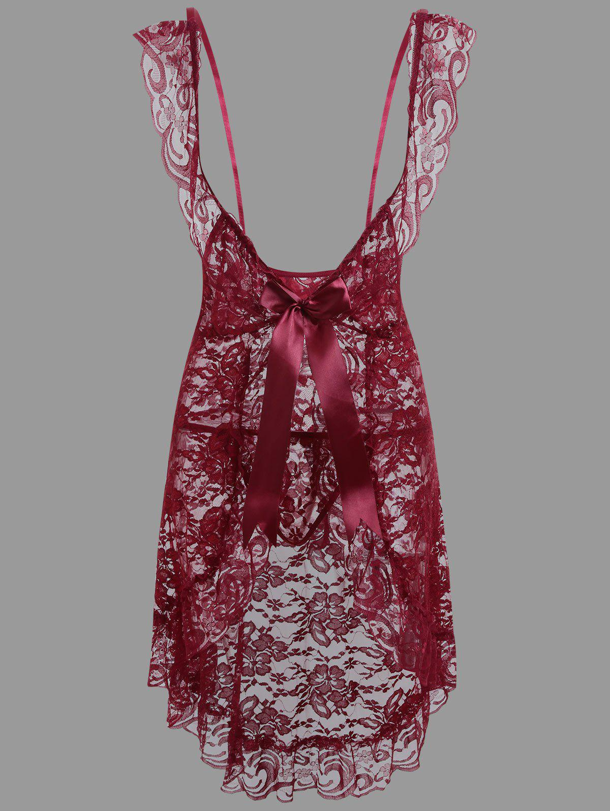 Lace Plunge Ruffles Babydoll - PURPLISH RED C M
