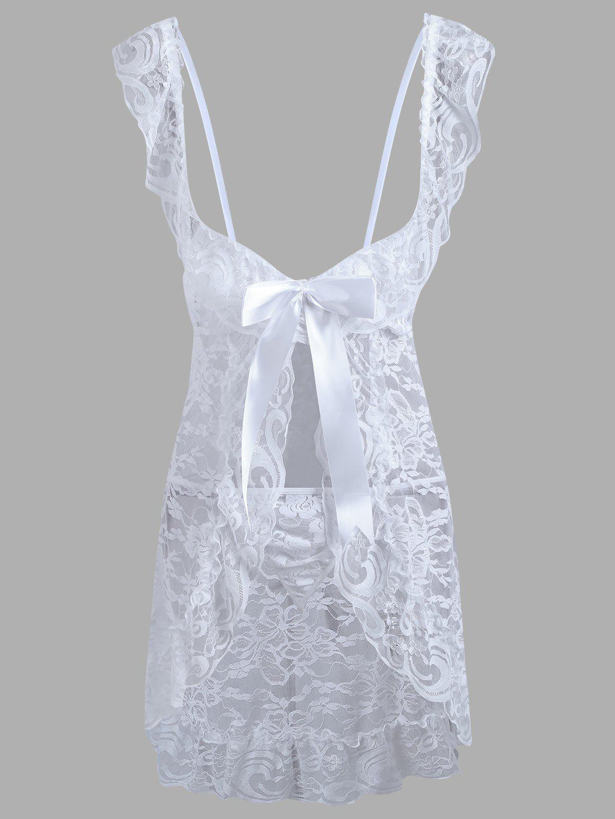 Lace Plunge Ruffles Babydoll - WHITE S