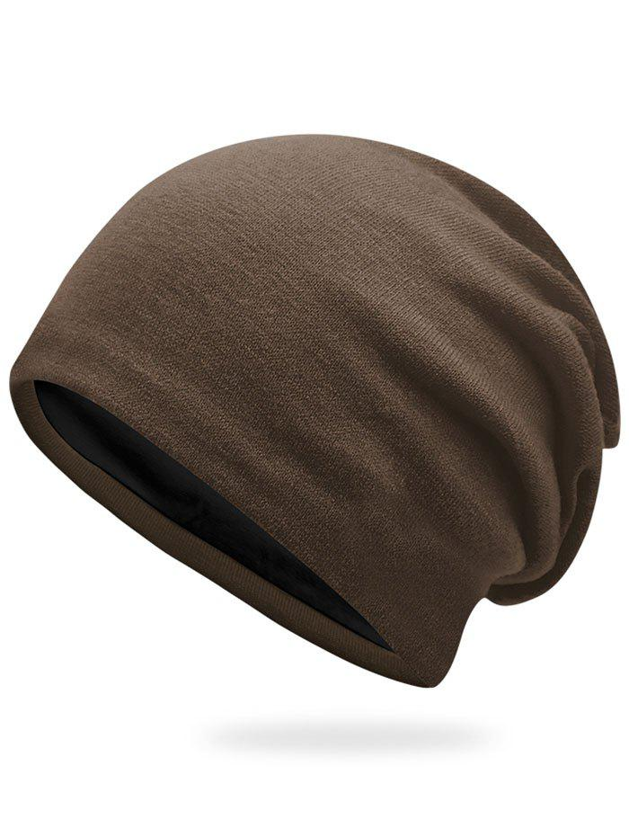 Autumn Plain Knit Hat - COFFEE