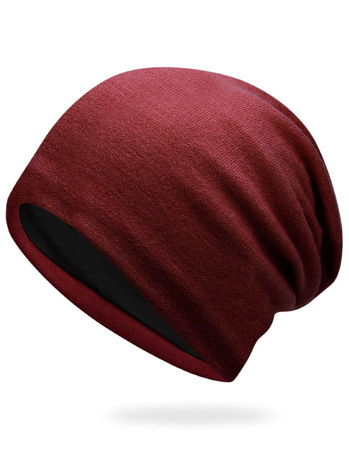 Autumn Plain Knit Hat - DARK RED