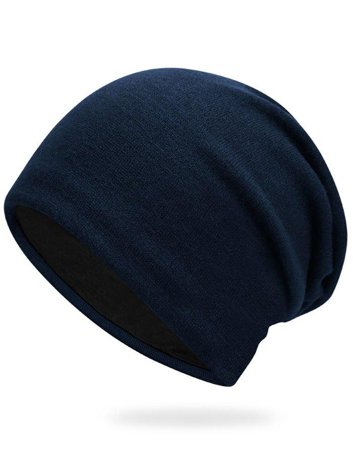 Autumn Plain Knit Hat - CERULEAN