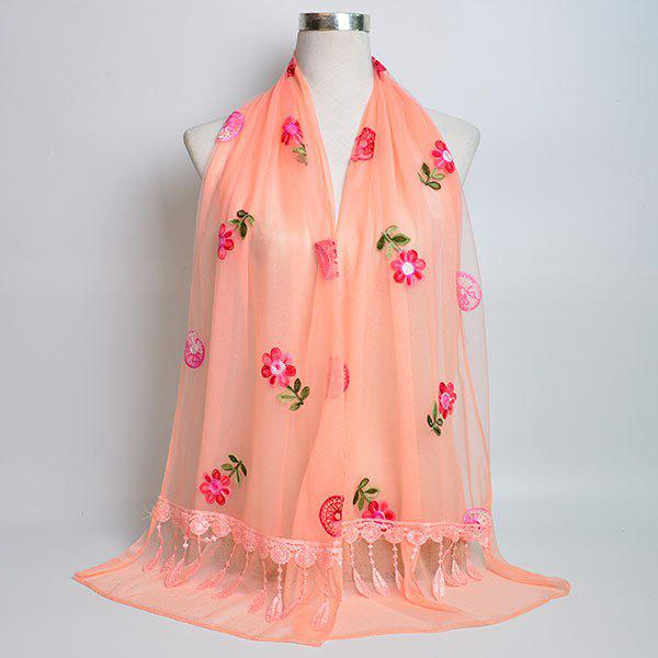 Flower Embroidered Tassel Lace Panel Shawl Scarf - ORANGEPINK