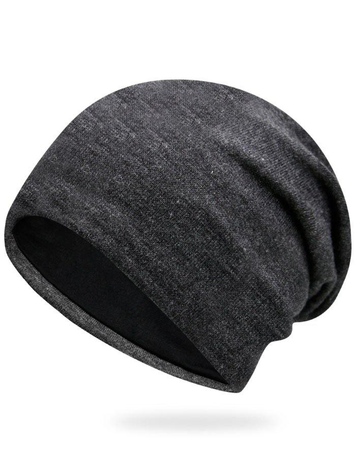 Autumn Plain Knit Hat - DEEP GRAY