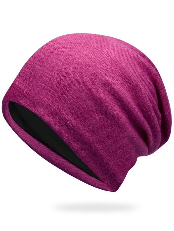 Autumn Plain Knit Hat - PURPLISH RED