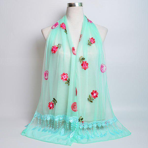 Flower Embroidered Tassel Lace Panel Shawl Scarf - BREEZY
