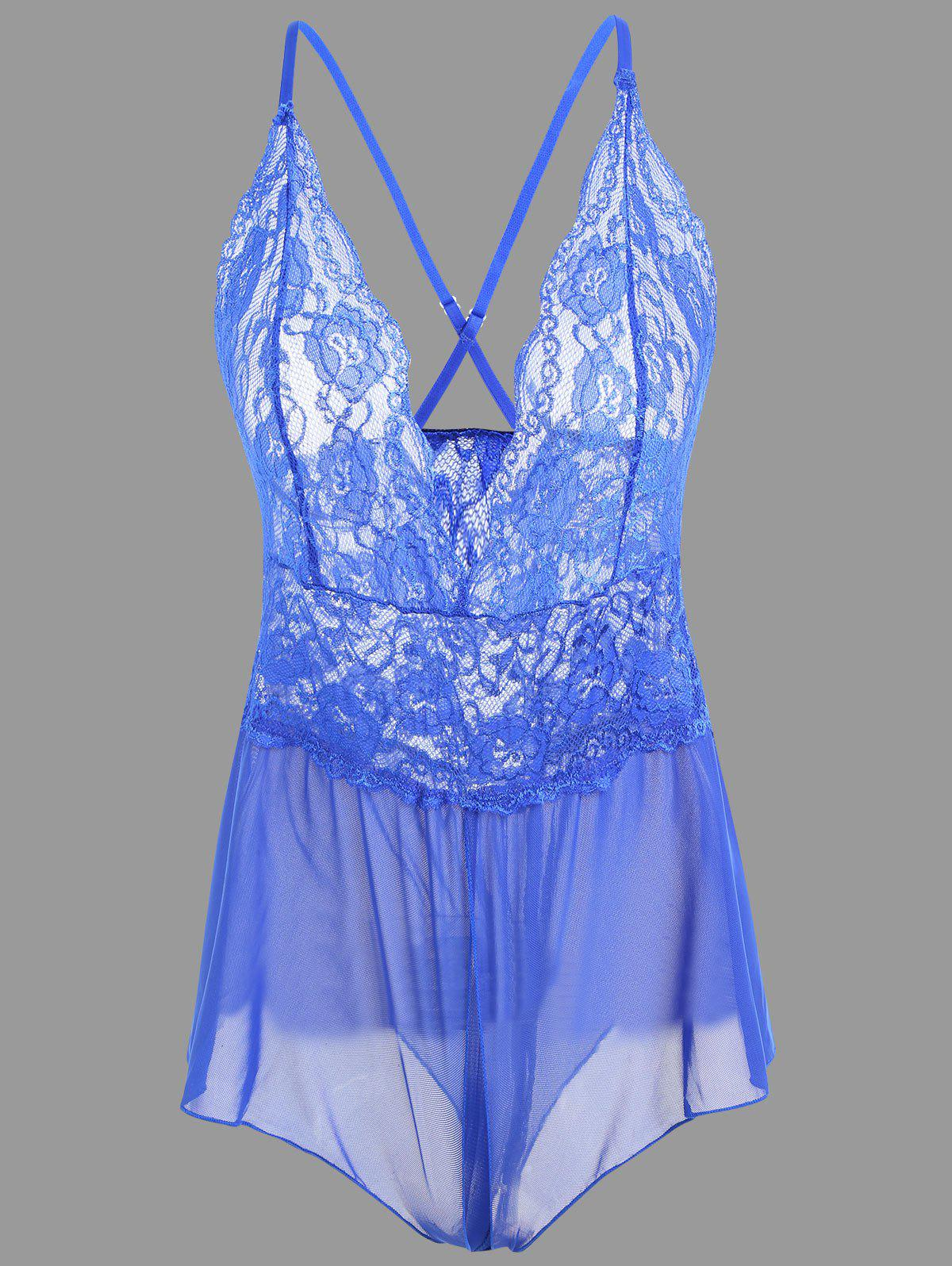 Plunge Lace Crossback Teddy - BLUE L