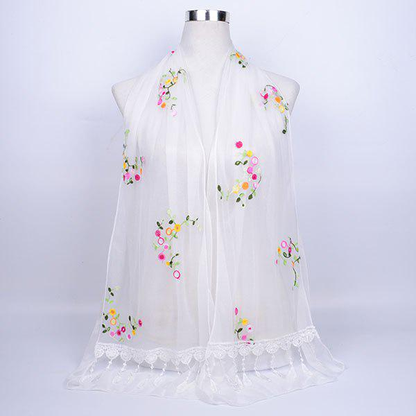 Flower Vine Shape Woolen Yarn Panel Lace Tassel Scarf - WHITE