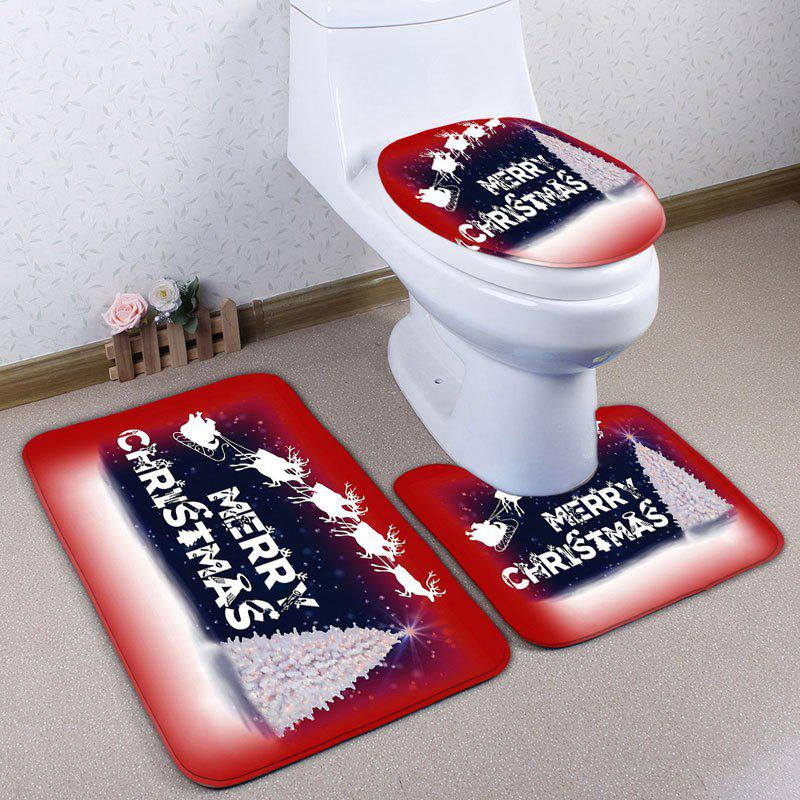 Christmas Sled Tree 3PCS Bath Toilet Mats Set - RED