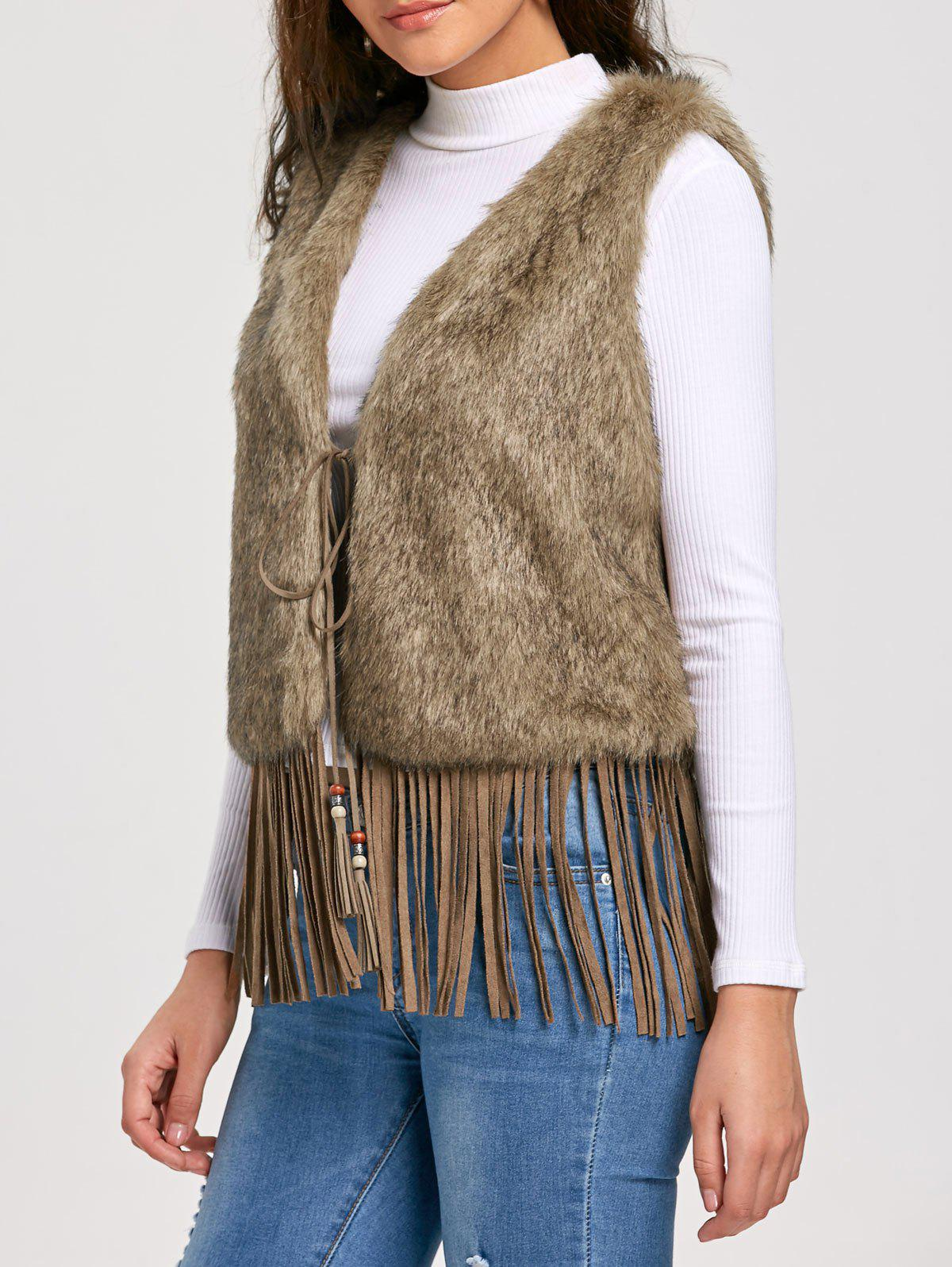 Gilet Fringe Tie Up Faux Fur - Kaki 2XL