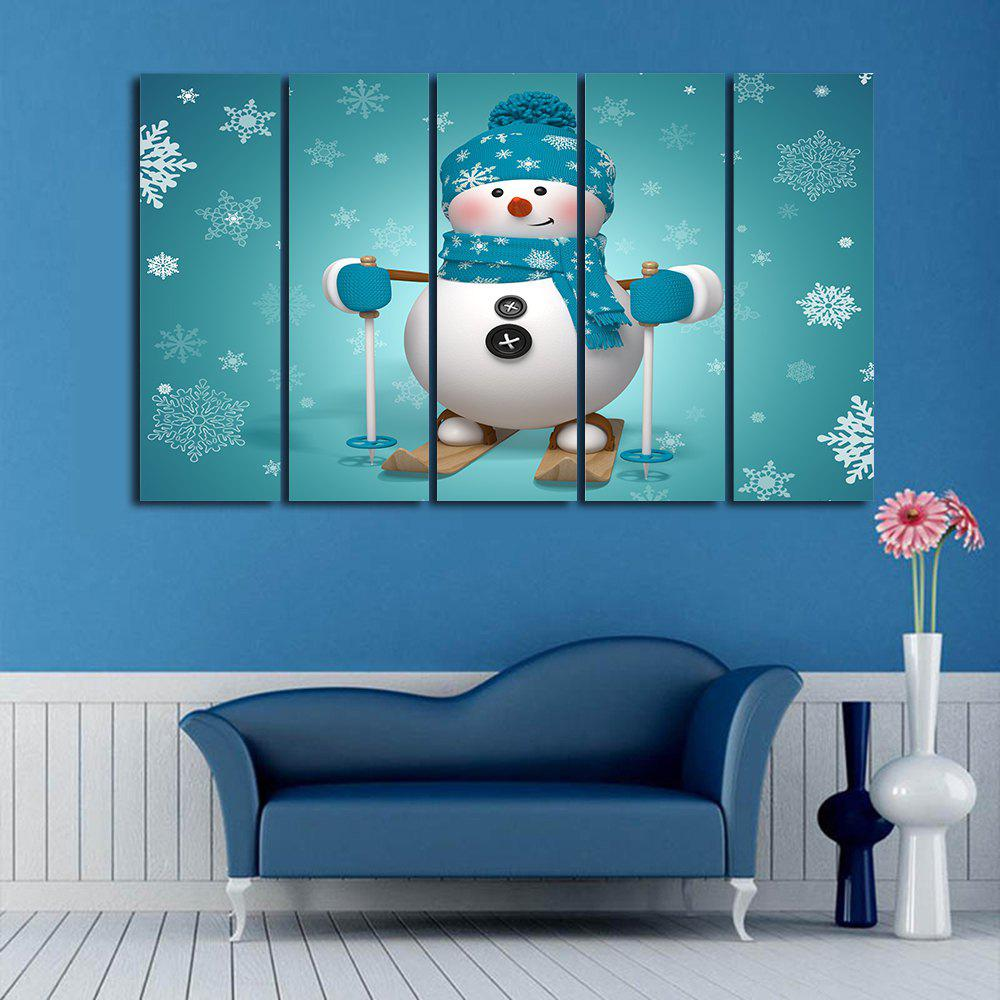 Christmas Snowman Skiing Print Unframed Canvas Paintings wall art sunset pyramids printed unframed canvas paintings