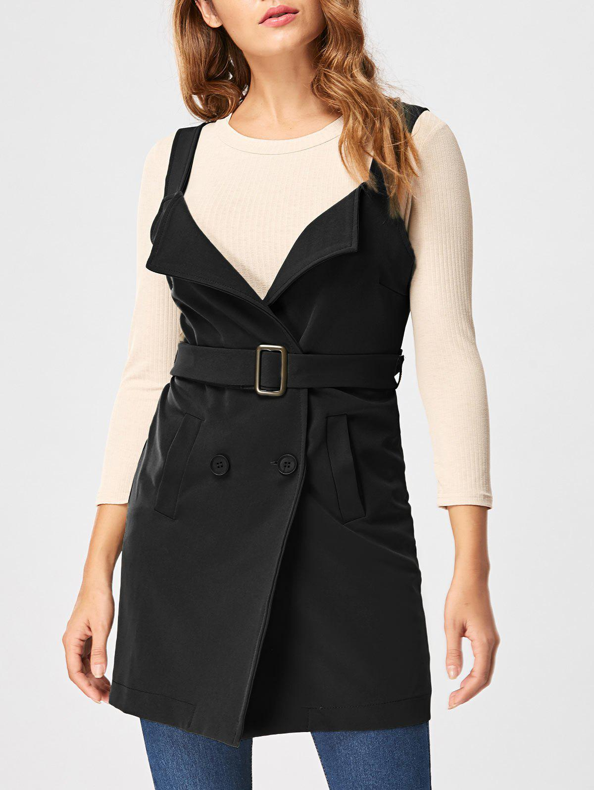 Vertical Pockets Waistcoat with Belt - BLACK 2XL