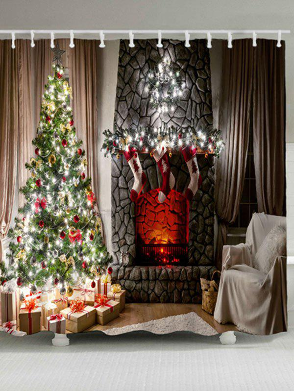 2018 Christmas Tree Fireplace Waterproof Bath Curtain