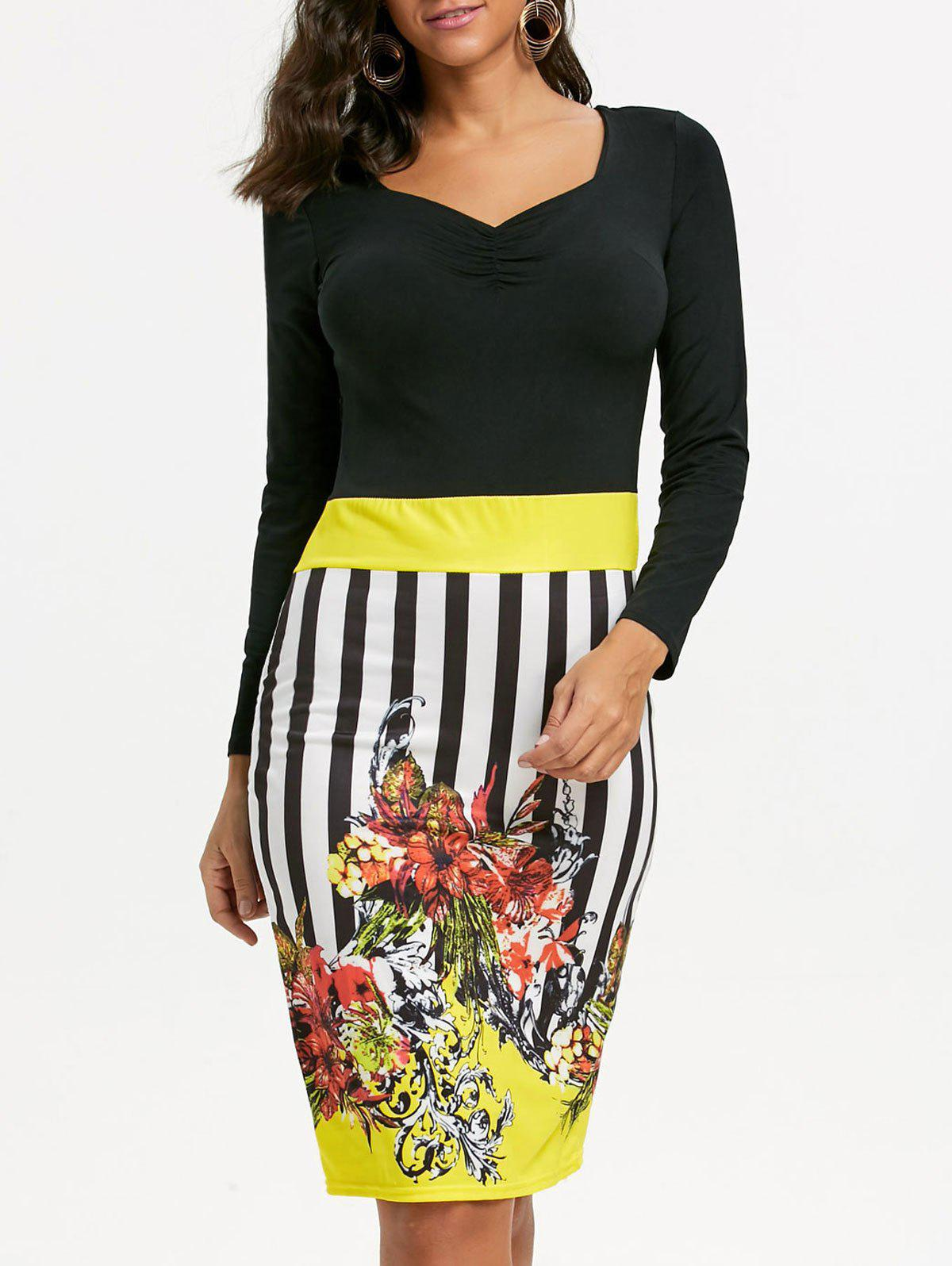 Stripe Floral Print Bodycon Dress - Jaune M