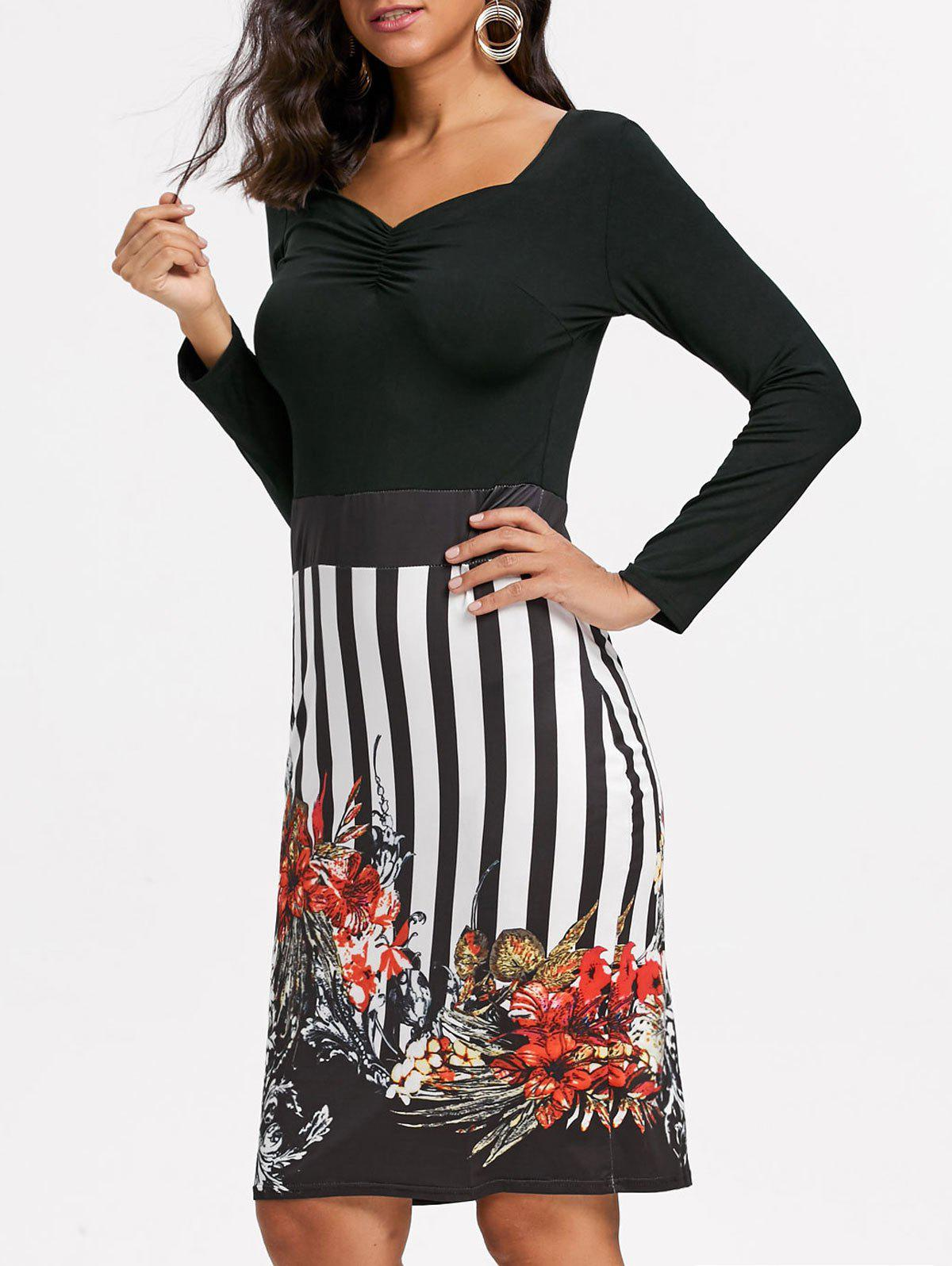 Stripe Floral Print Bodycon Dress - Noir M