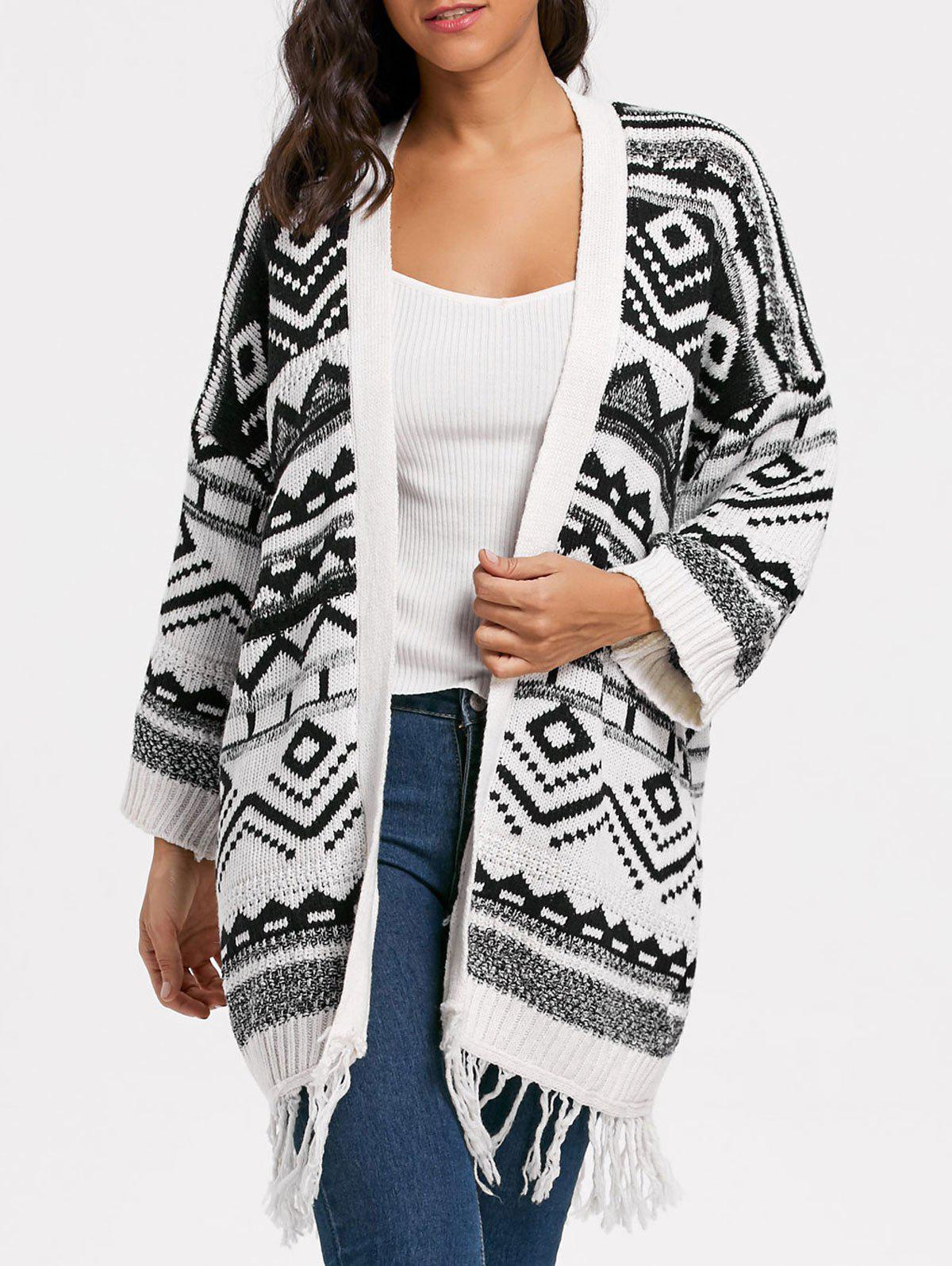 2017 Geometric Fringe Long Sweater Cardigan WHITE ONE SIZE In ...