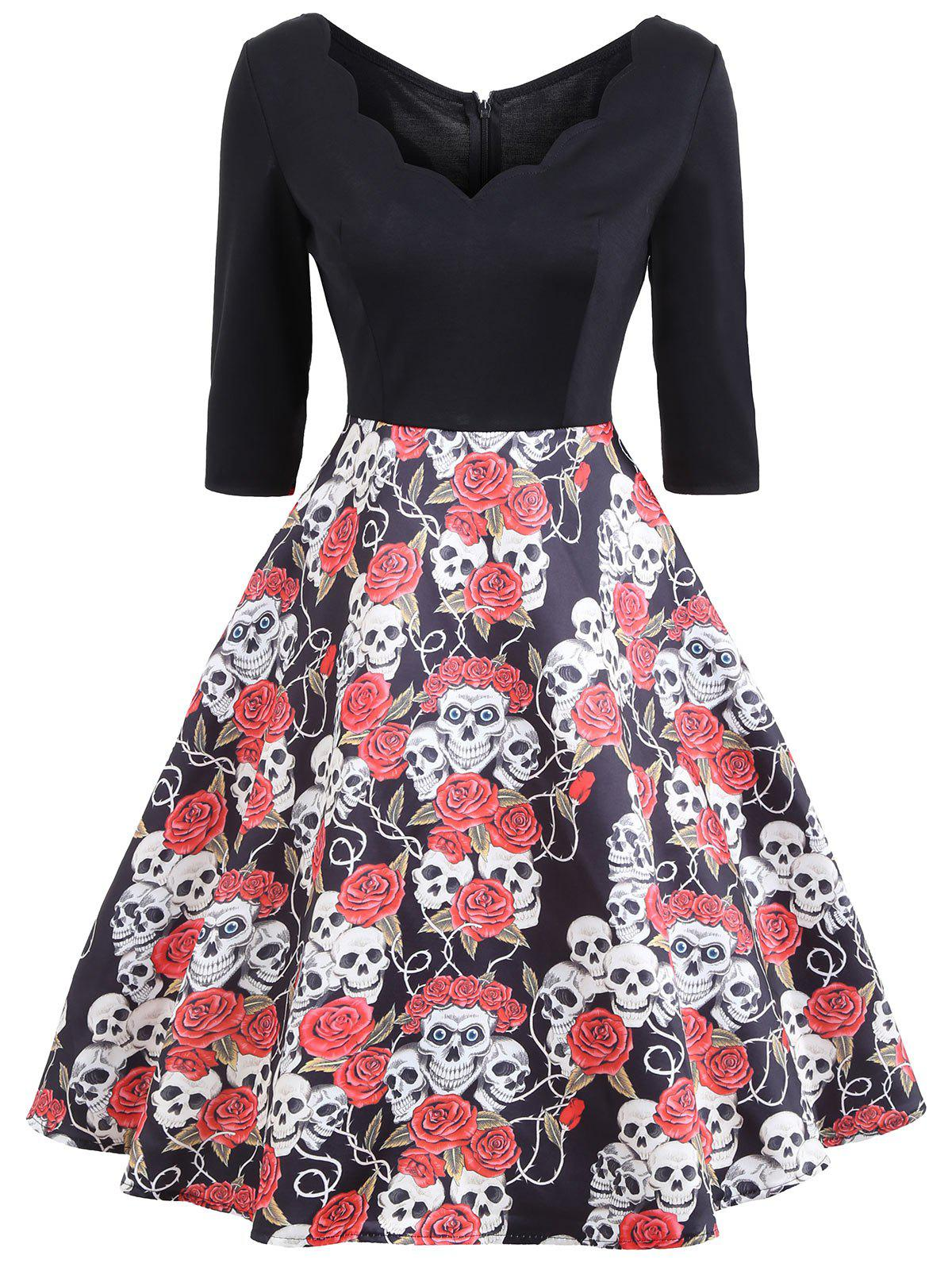 Halloween Floral Skull Print Vintage Dress - COLORMIX M
