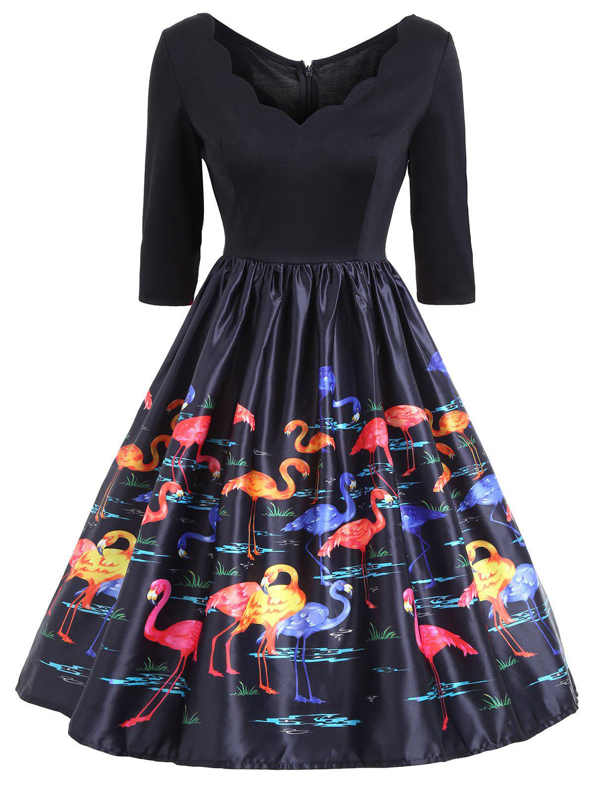 Flamingo Print V-Neck Fit et Flare Vintage Dress - multicolorcolore L