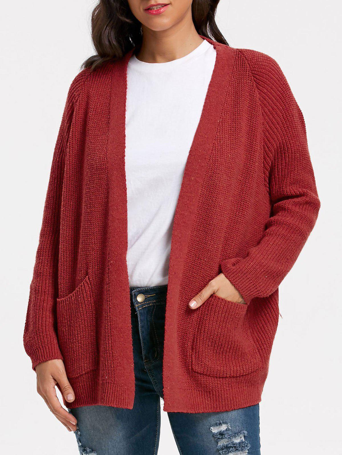 Pockets Sweater Cardigan - WINE RED ONE SIZE