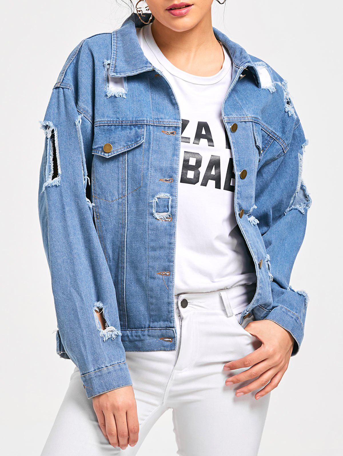 Destroyed Denim Button Up Jacket - LIGHT BLUE 2XL