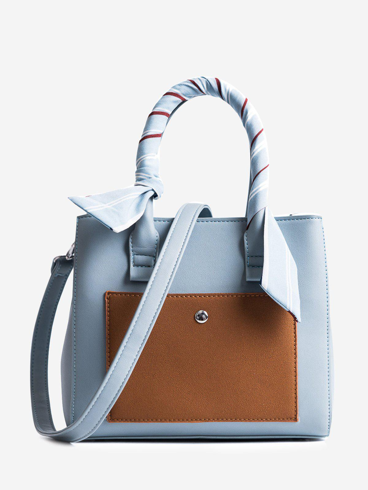 Ribbon Color Block Tote Bag - BLUE