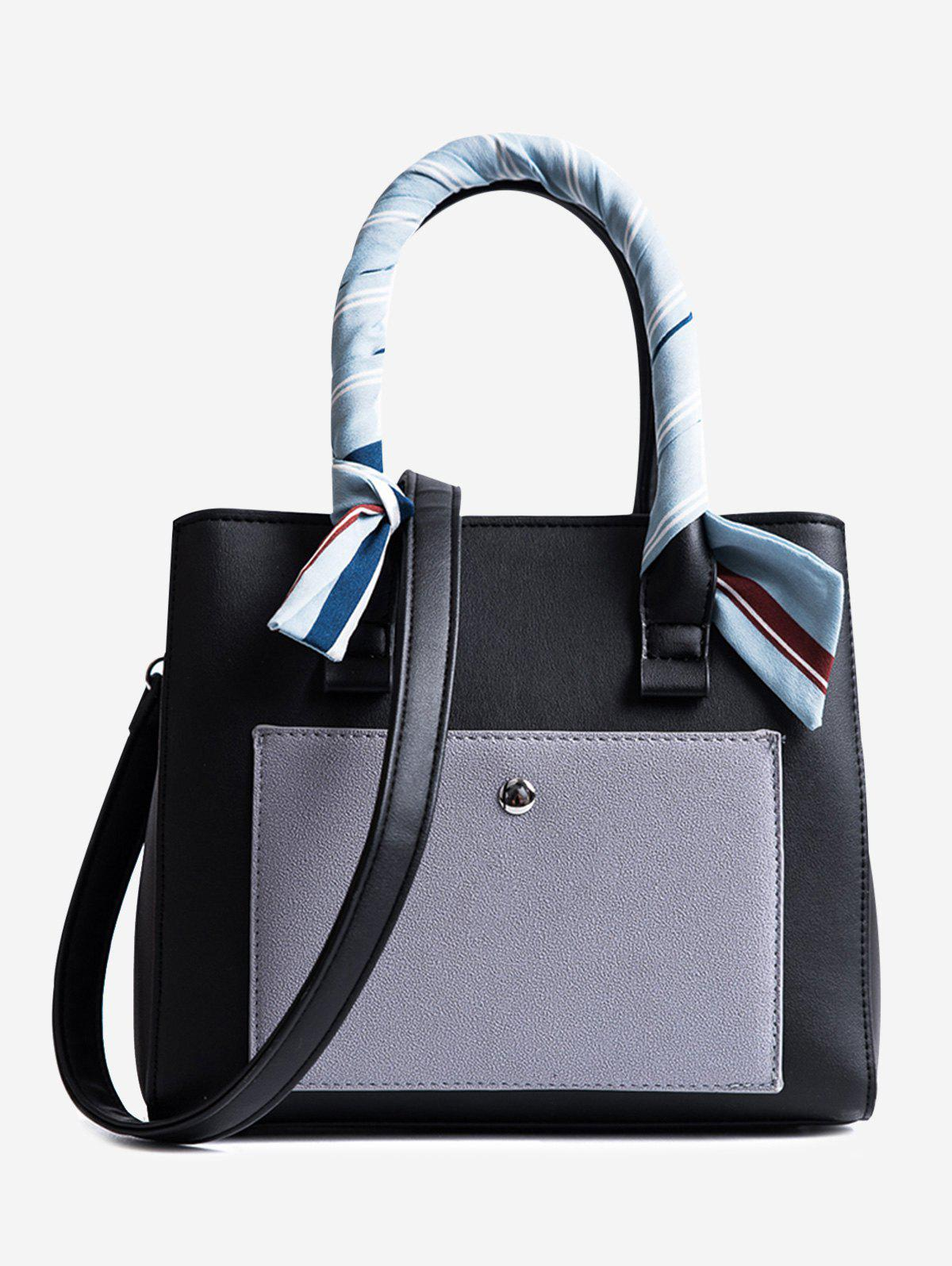 Ribbon Color Block Tote Bag - BLACK