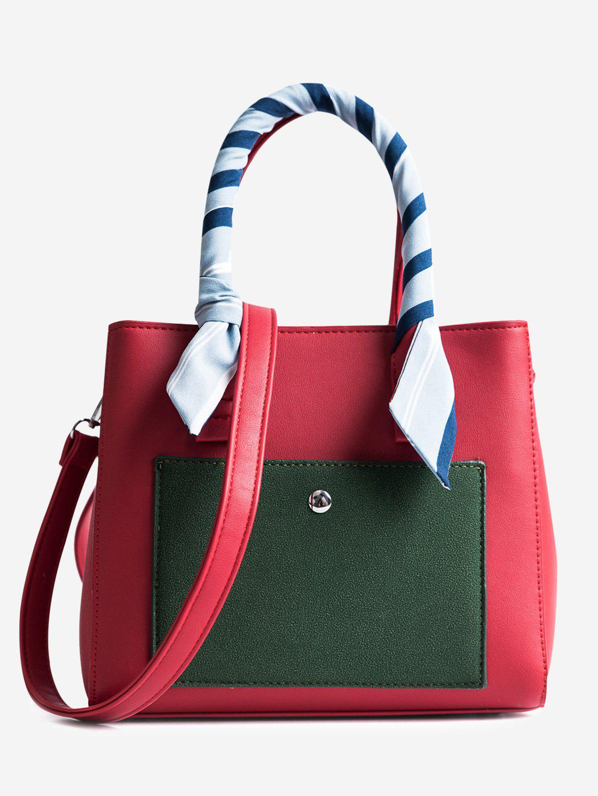 Ribbon Color Block Tote Bag - RED