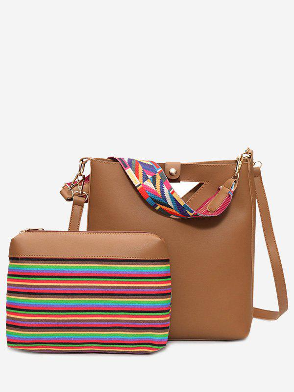 Rainbow Striped Hollow Out Crossbody Bag Set - BROWN