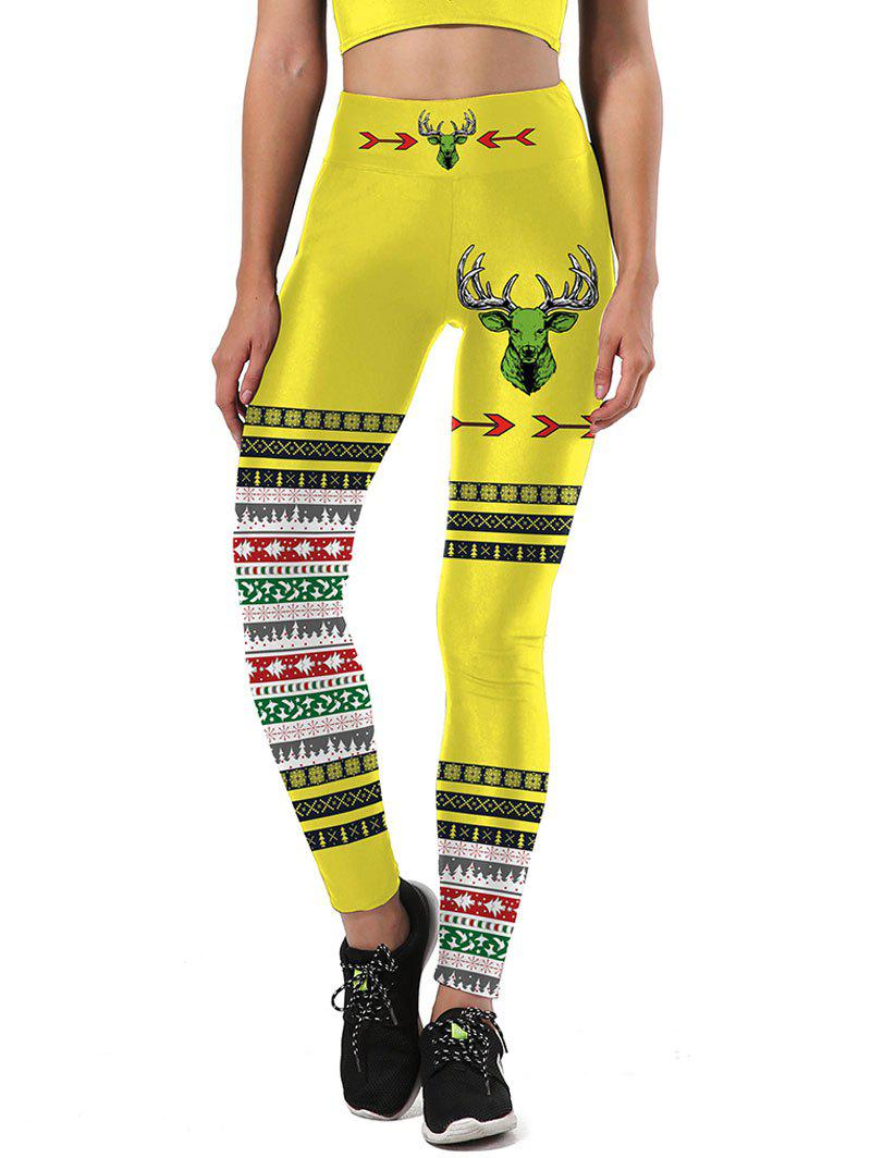 Color Block Christmas Tree Snowflake Leggings - YELLOW/BLACK L
