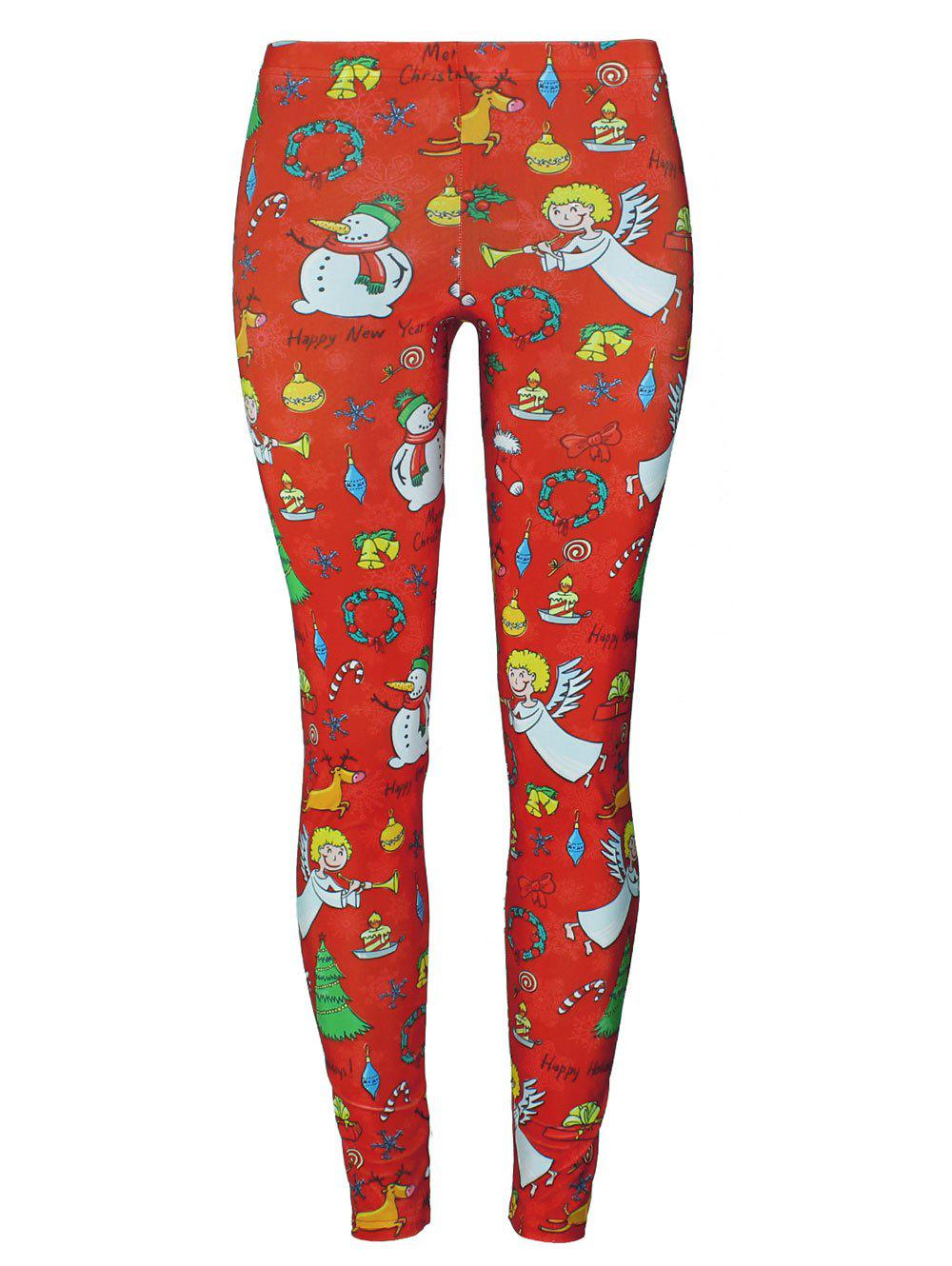 Christmas Tree Party Snowman Angel Leggings - RED S