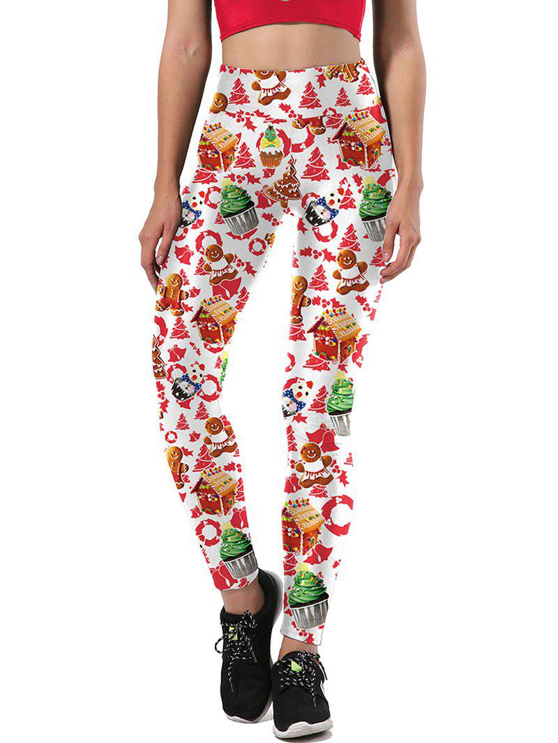 Ulgy Christmas Tree Party Cake Leggings - WHITE M