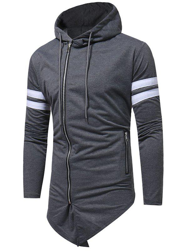 Asymmetrical Bottom Varsity Stripe Zip Up Hoodie