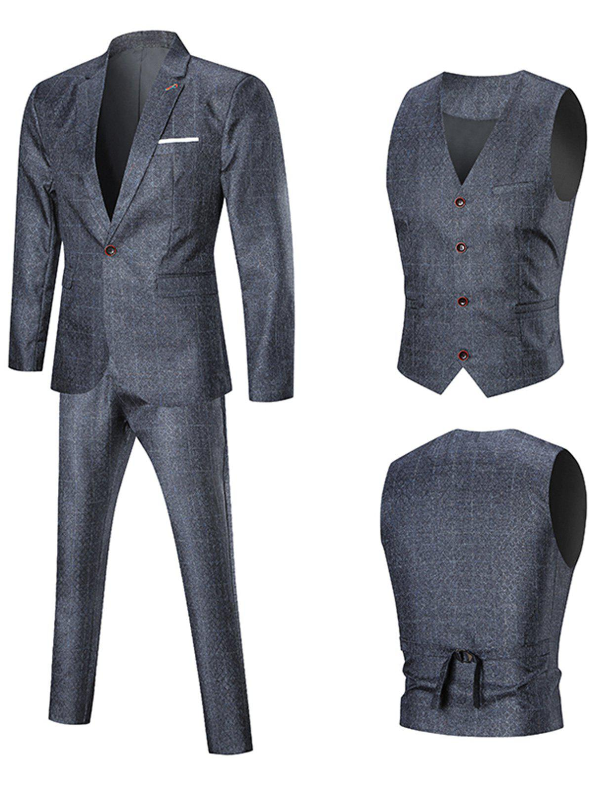 Argyle One Button Three Piece Business Suit - PEARL DARK GREY 4XL