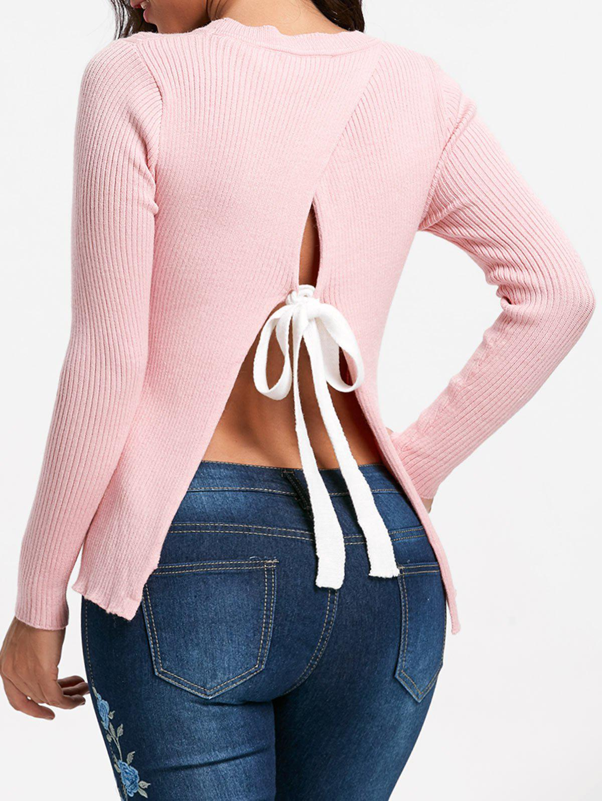 Back Slit Ribbed Sweater - PINK S