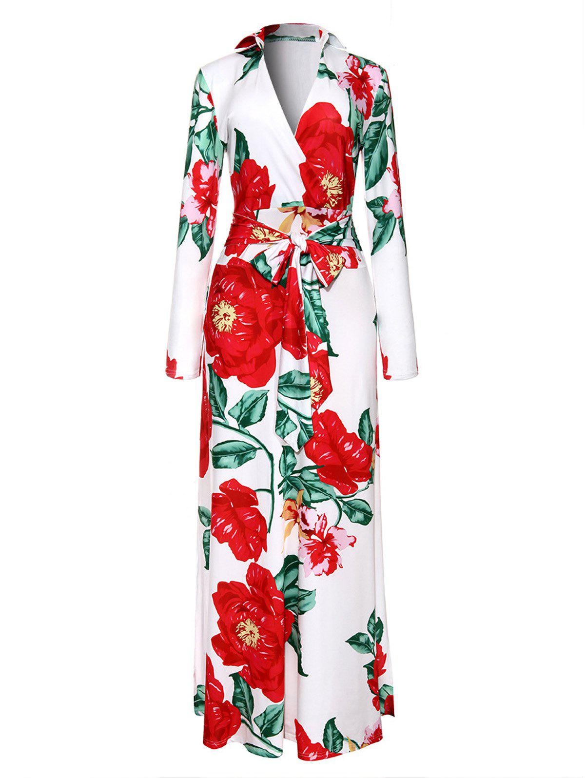 Floral Print Surplice Floor Length Dress - COLORMIX XL