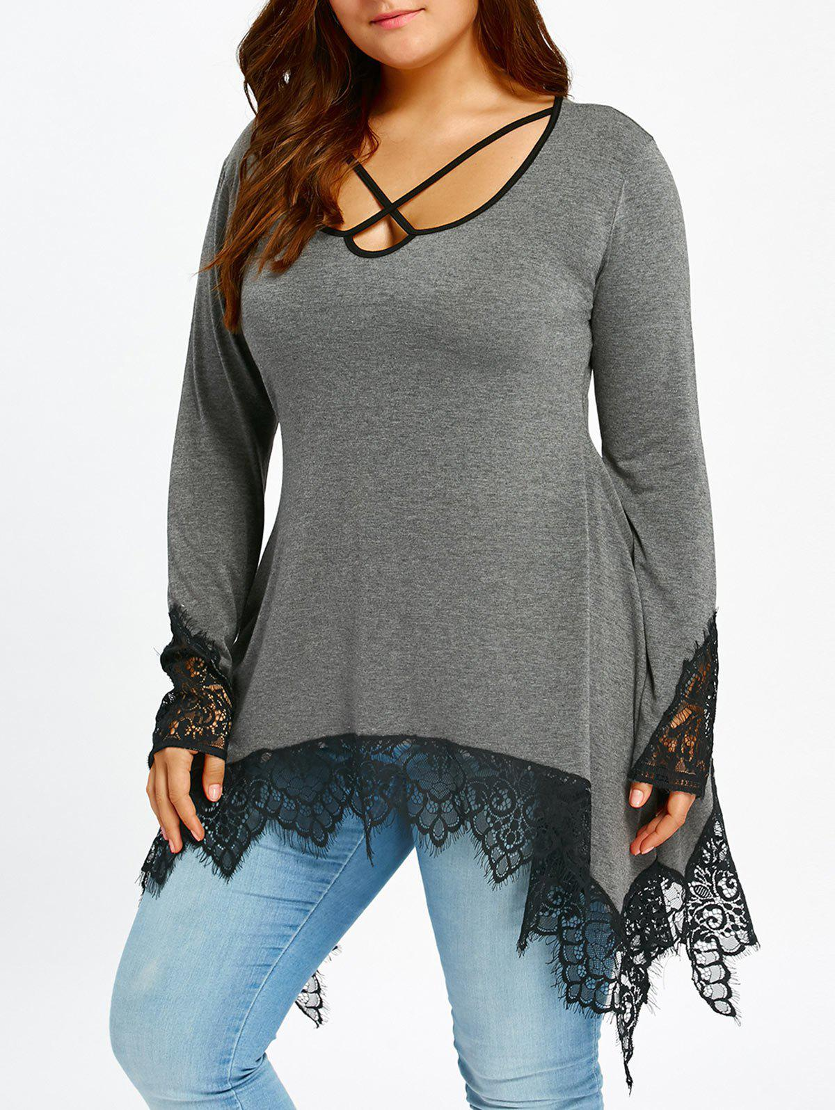 Plus Size Lace Trim Tunic Sharkbite T-shirt - GRAY 5XL