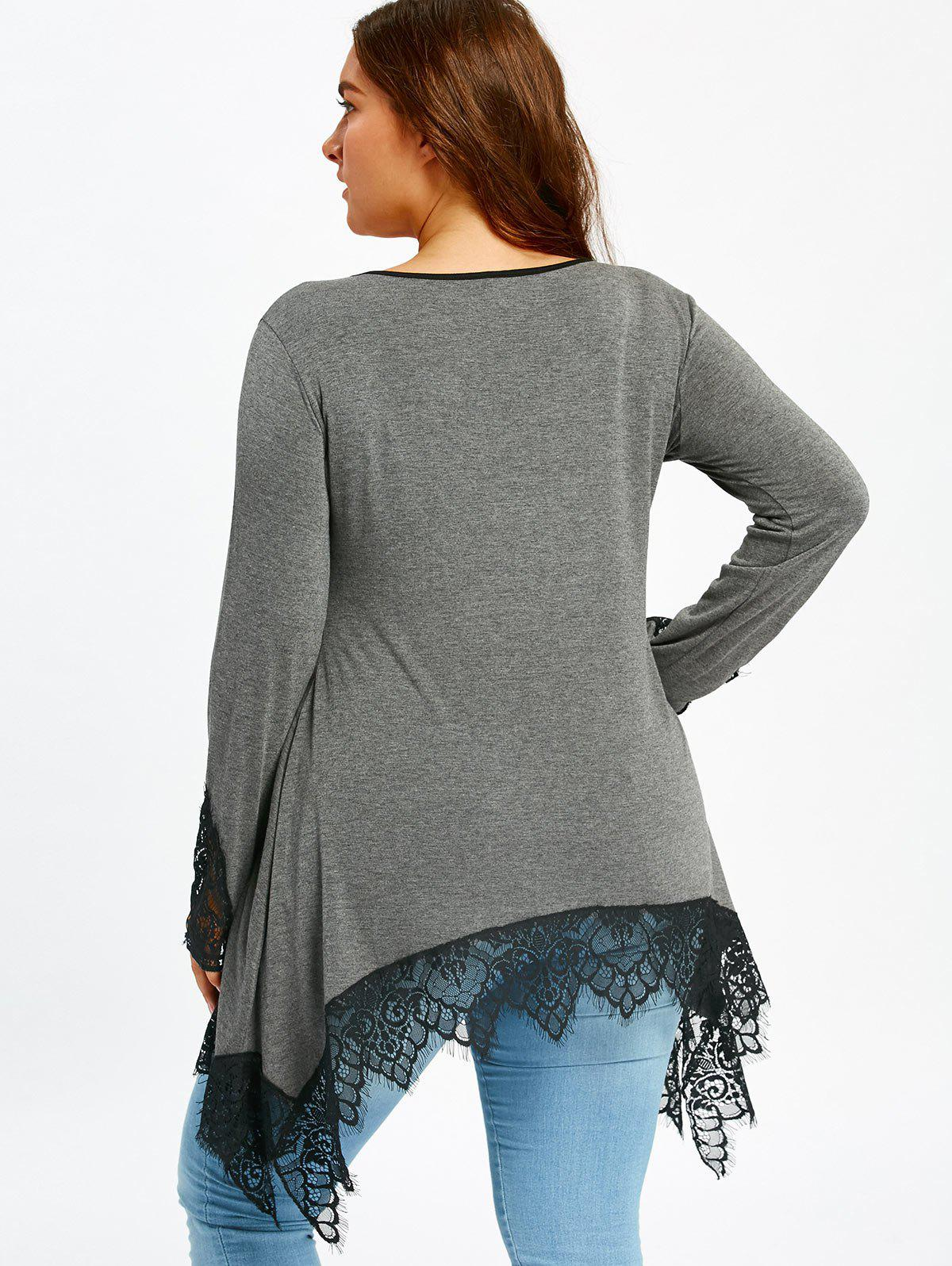 Plus Size Lace Trim Tunic Sharkbite T-shirt - GRAY 3XL