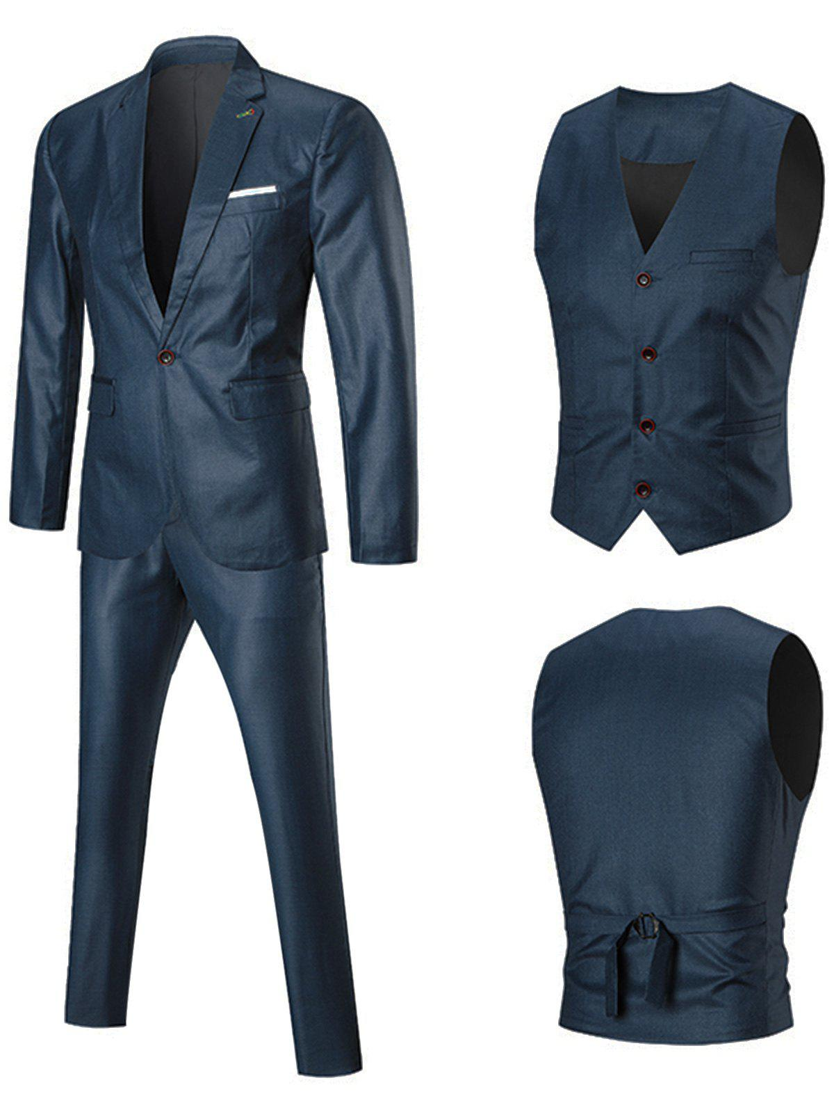 One Lapel Button Three-piece Business Suit - BLUE 4XL