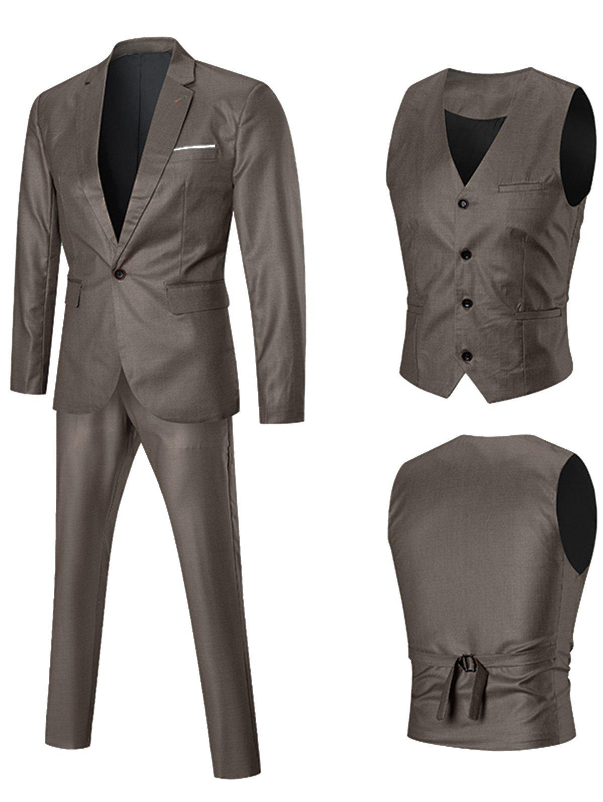 One-button Lapel Three Piece Business Suit - GOLDEN XL