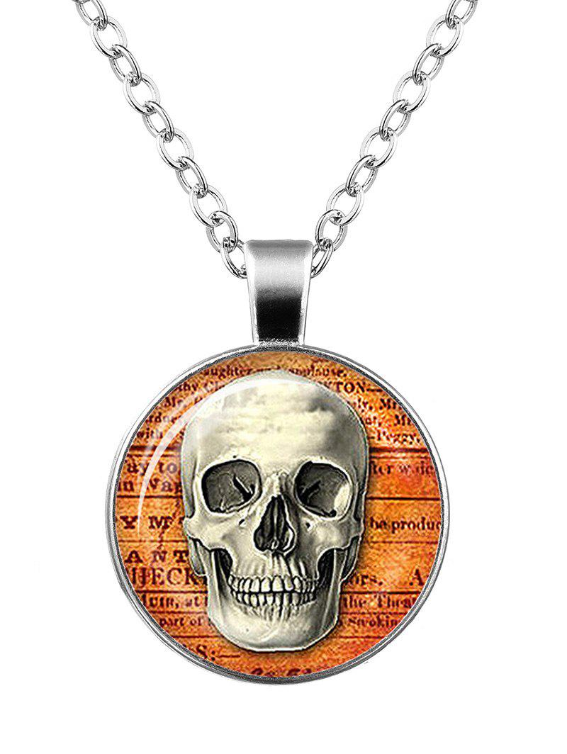 Halloween Skull Cameo Charm Necklace - SILVER