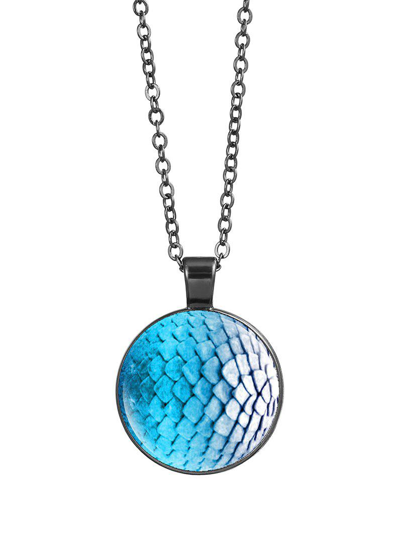 Dragon Scale Armor Round Charm Necklace - SILVER