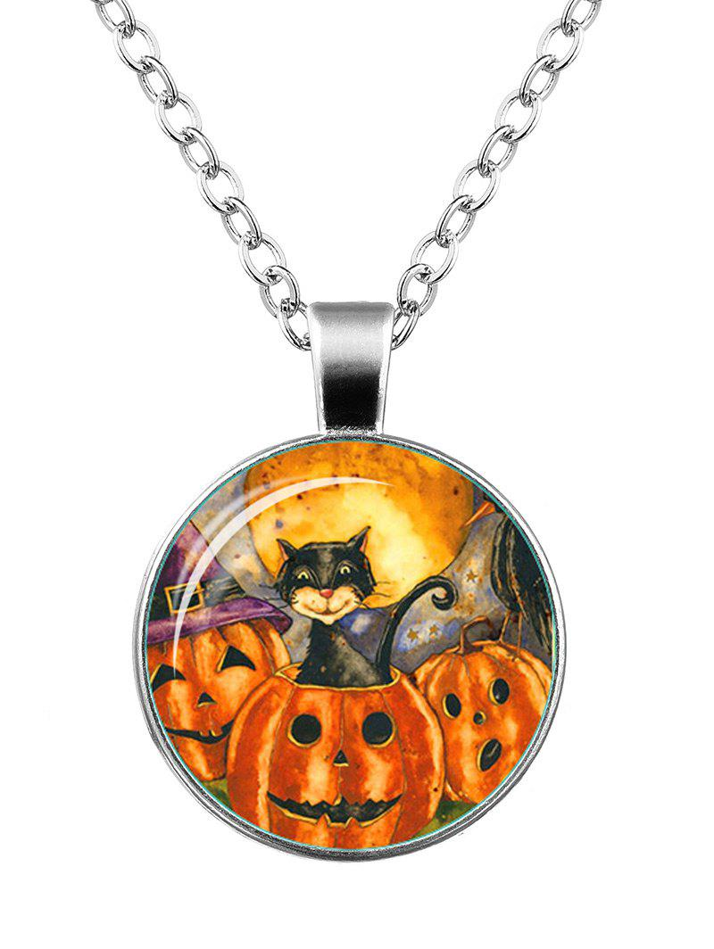 Halloween Funny Pumpkin Cat Necklace - SILVER