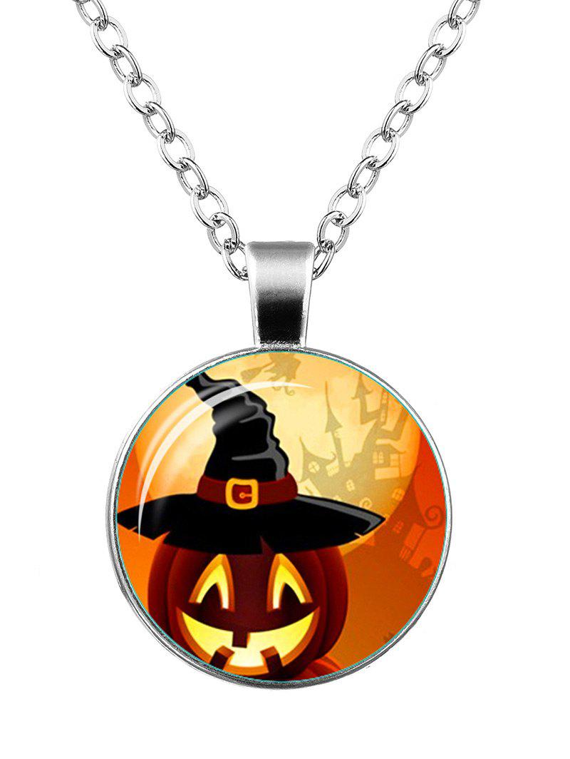 Halloween Pumpkin Wizard Hat Castle Necklace - SILVER